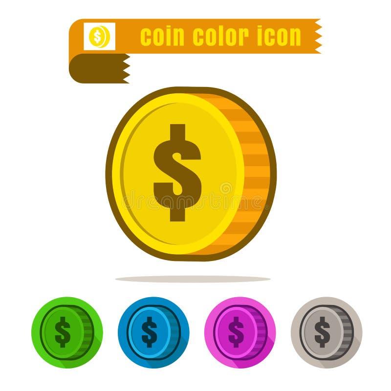 Vetor colorido do projeto do dinheiro da moeda do ícone no fundo branco ilustração stock