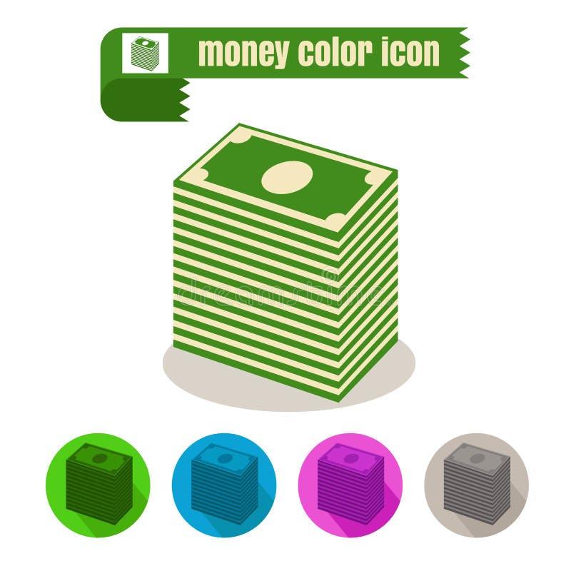 Vetor colorido do projeto do dinheiro do ícone no fundo branco ilustração do vetor