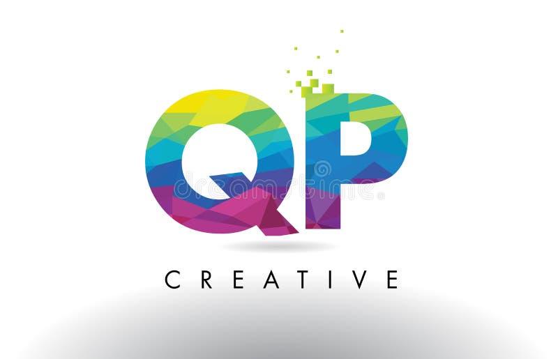 Vetor colorido do projeto dos triângulos do origâmi da letra de QP Q P ilustração stock