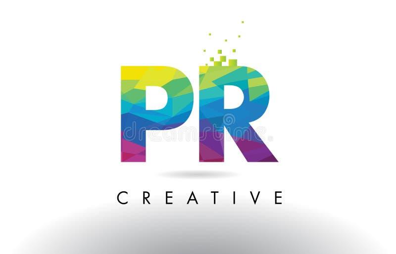 Vetor colorido do projeto dos triângulos do origâmi da letra do PR P R ilustração stock