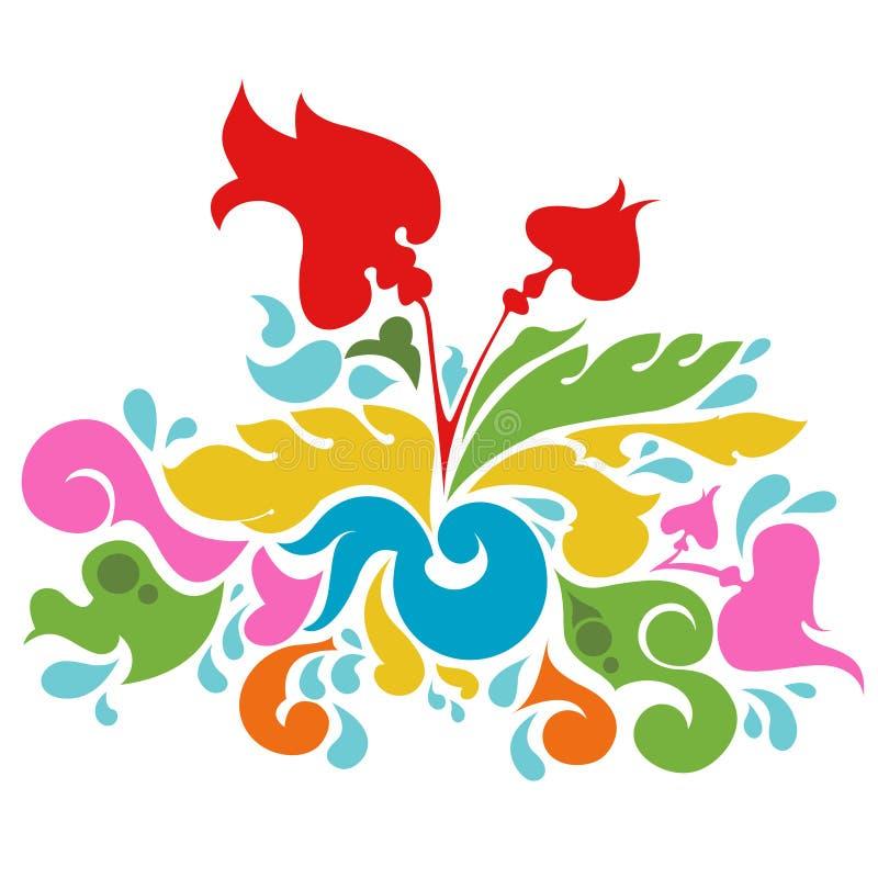 Vetor colorido do projeto floral ilustração royalty free