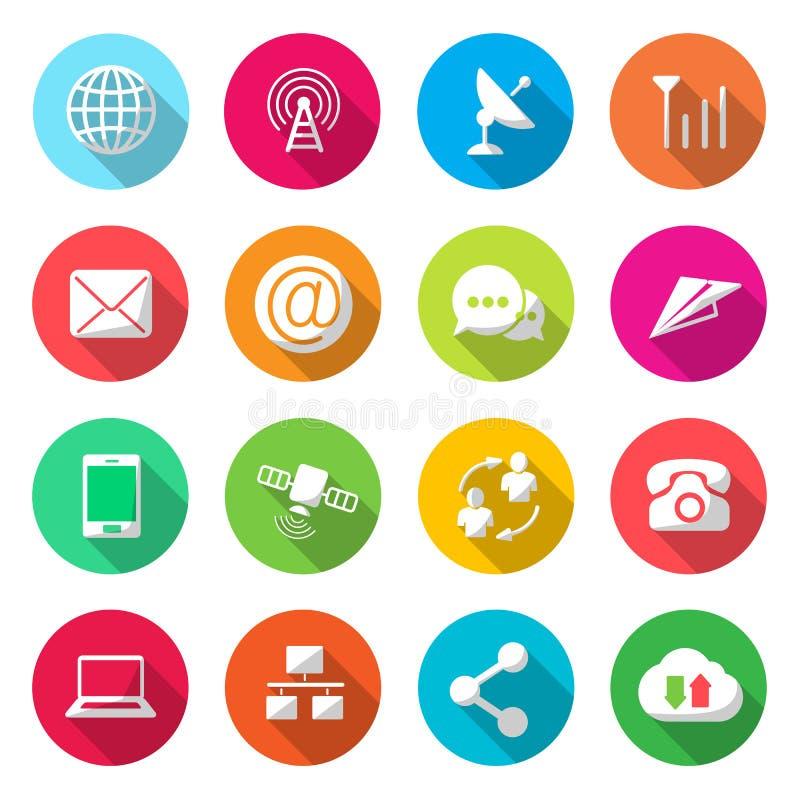 Vetor colorido dos ícones das comunicações ilustração royalty free