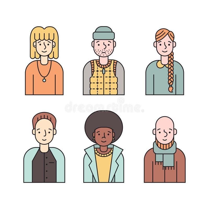 Vetor colorido dos ícones dos povos ajustado (homens e mulheres) Parte quatro ilustração stock