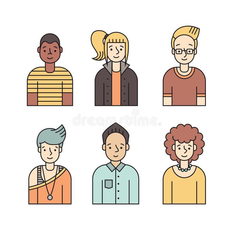 Vetor colorido dos ícones dos povos ajustado (homens e mulheres) Projeto de Minimalistic Parte dois ilustração royalty free