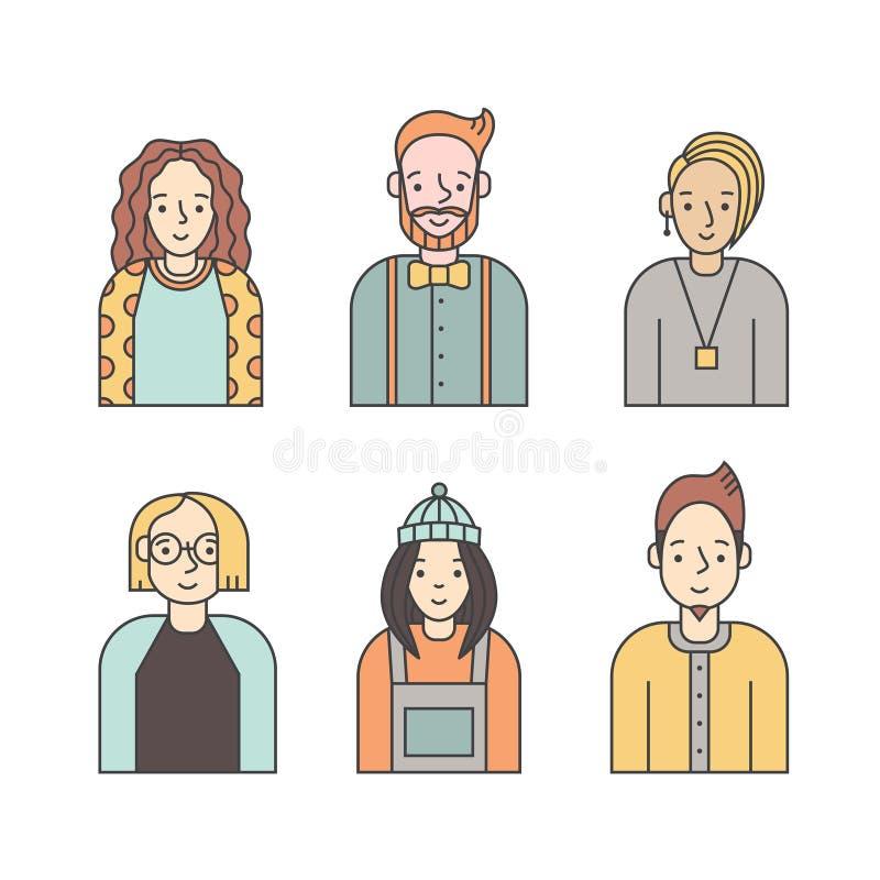 Vetor colorido dos ícones dos povos ajustado (homens e mulheres) Projeto de Minimalistic Parte seis ilustração royalty free