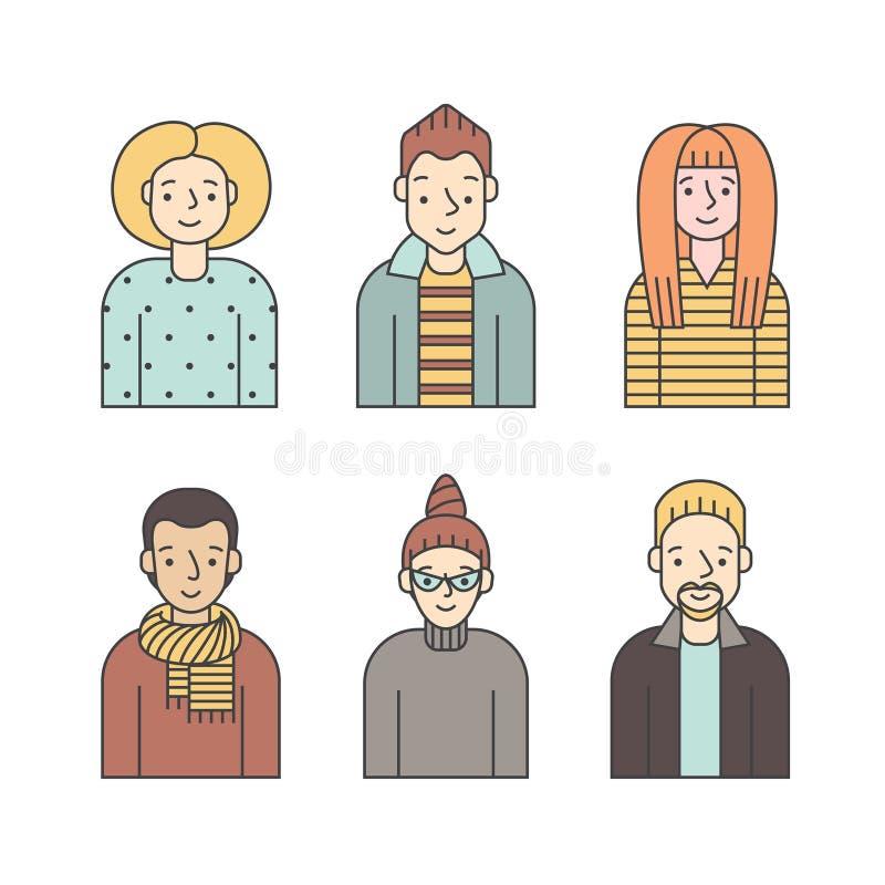 Vetor colorido dos ícones dos povos ajustado (homens e mulheres) Projeto de Minimalistic Parte seis ilustração do vetor