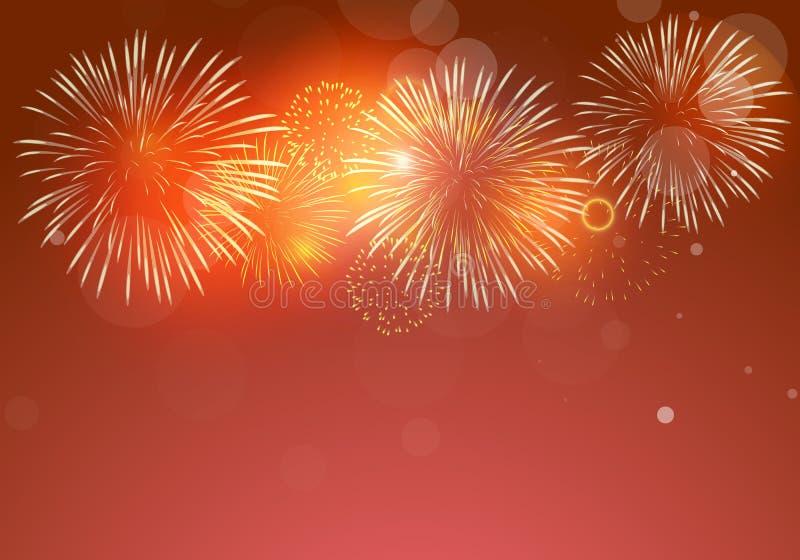 Vetor colorido dos fogos de artifício em escuro - fundo vermelho com brilho de bokehs ilustração stock