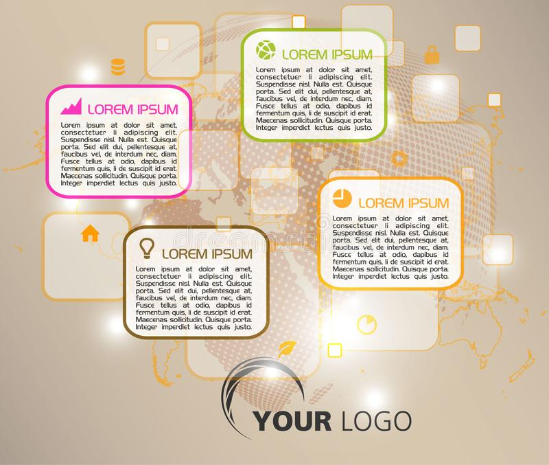 Vetor colorido moderno do molde das opções do infographics com rectan ilustração royalty free