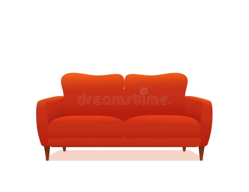 Vetor colorido vermelho da ilustração dos desenhos animados do sofá e do sofá ilustração royalty free