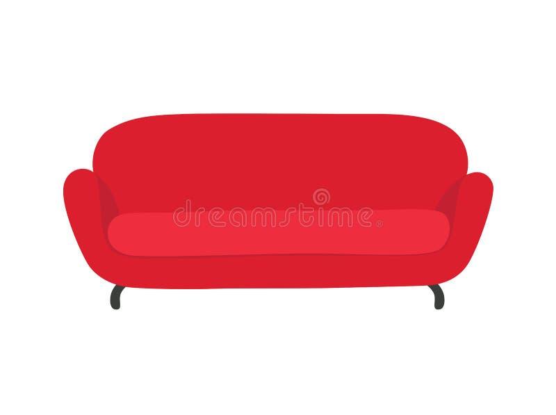 Vetor colorido vermelho da ilustra??o dos desenhos animados do sof? e do sof? Sala de estar confort?vel para o design de interior ilustração royalty free