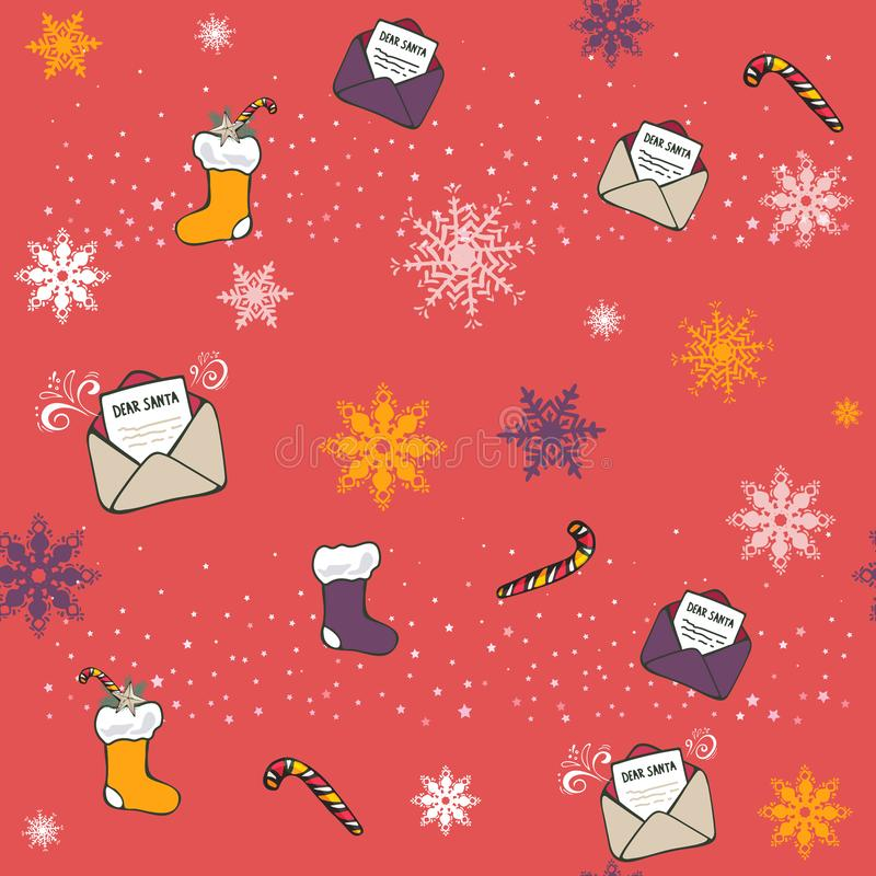Vetor Colorido Vintage Seasonal Padrão de Natal Sem Costura Canes de Natal, Meias de Papai Noel, carta, flocos de neve ilustração do vetor