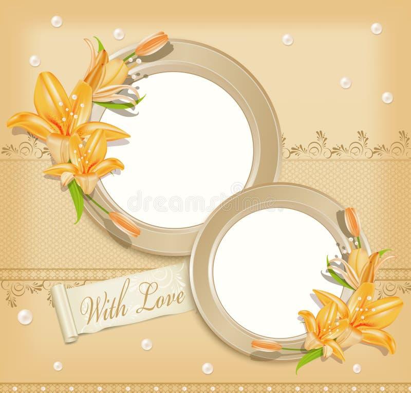 Vetor com dois frames circulares da foto, lírios ilustração stock