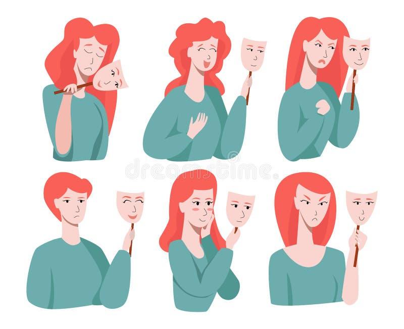 Vetor com várias emoções humanas que a pessoa esconde sob uma máscara social chorar, sorrir, mulheres, feliz, rir, raiva ilustração royalty free
