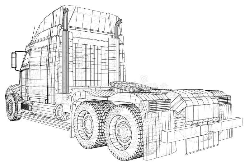 Vetor comercial do caminhão da carga da entrega para a identidade de marca e propaganda isolada Ilustração criada de 3d fio ilustração do vetor
