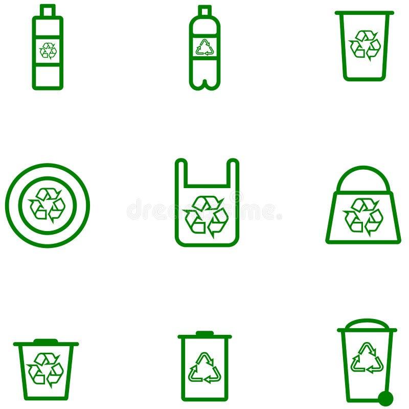 Vetor conservado em estoque dos ícones ajustados da ecologia de produtos plásticos ilustração stock