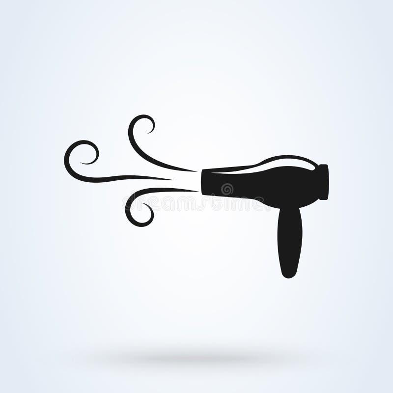 Vetor contínuo do ícone do preto do secador de cabelo ilustração lisa do símbolo ilustração royalty free
