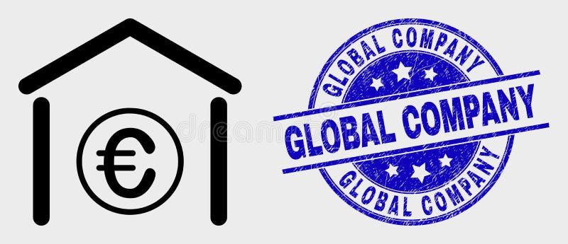 Vetor Contorno Euro Banco Ícone e selo de Aflição Global Empresa ilustração royalty free