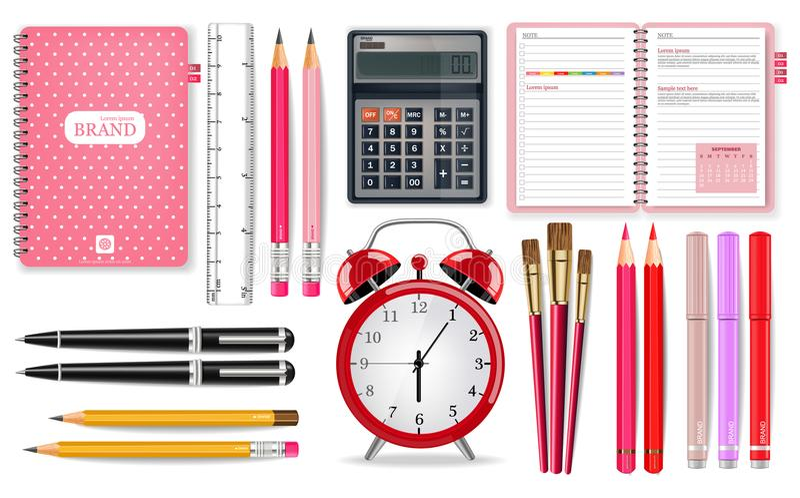 Vetor cor-de-rosa das fontes de escola realístico Ferramentas do despertador, da calculadora, do caderno e da pena Ilustrações 3d ilustração stock
