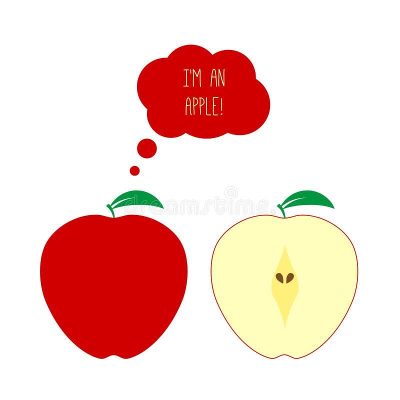 Vetor corte inteiro e meio de Apple vermelho O pensamento ou pensa a bolha Ilustração lisa do estilo ilustração royalty free