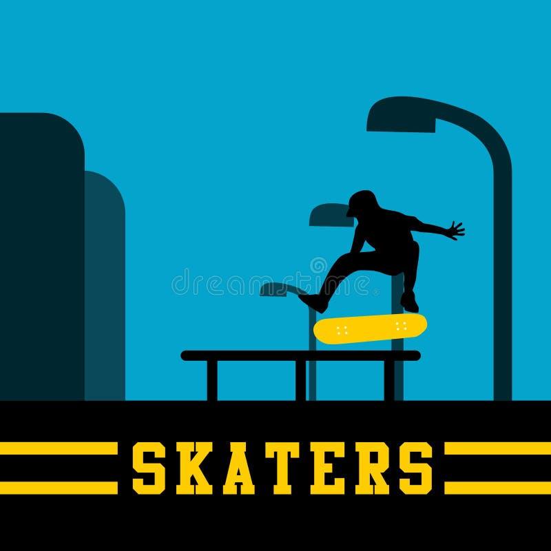 Vetor criativo Art Logo da ilustração dos skateres ilustração do vetor