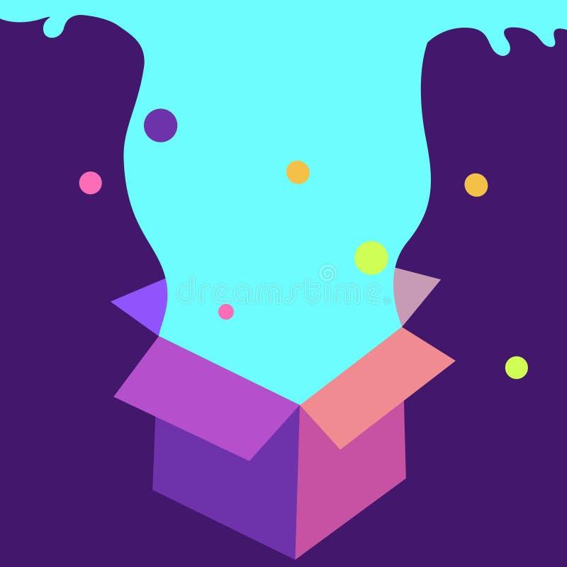 Vetor criativo, cartão ou fundo com caixa de presente e fonte da arco-íris-cor ilustração do vetor