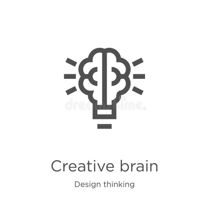 vetor criativo do ícone do cérebro da coleção de pensamento do projeto Linha fina ilustração criativa do vetor do ícone do esboço ilustração do vetor