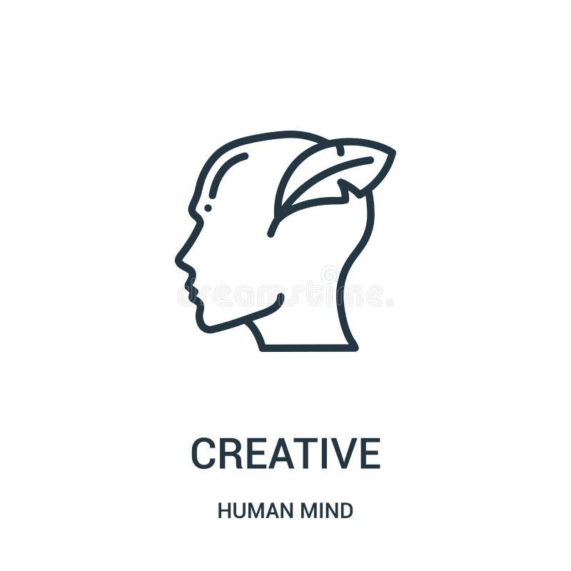 vetor criativo do ícone da coleção da mente humana Linha fina ilustração criativa do vetor do ícone do esboço Símbolo linear para ilustração do vetor