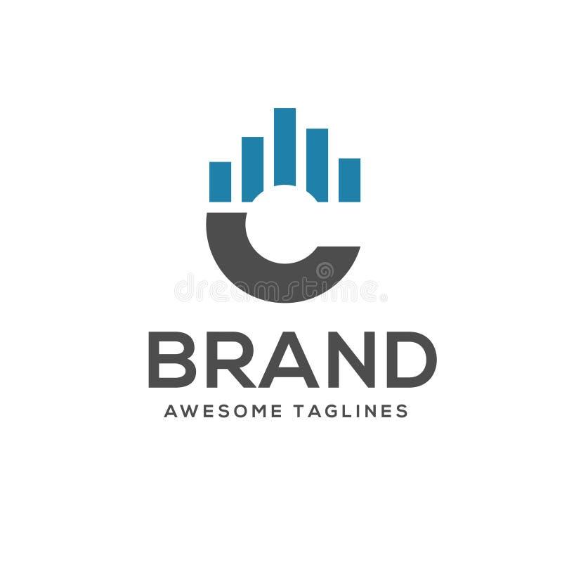 Vetor criativo do logotipo dos dados da letra C ilustração stock