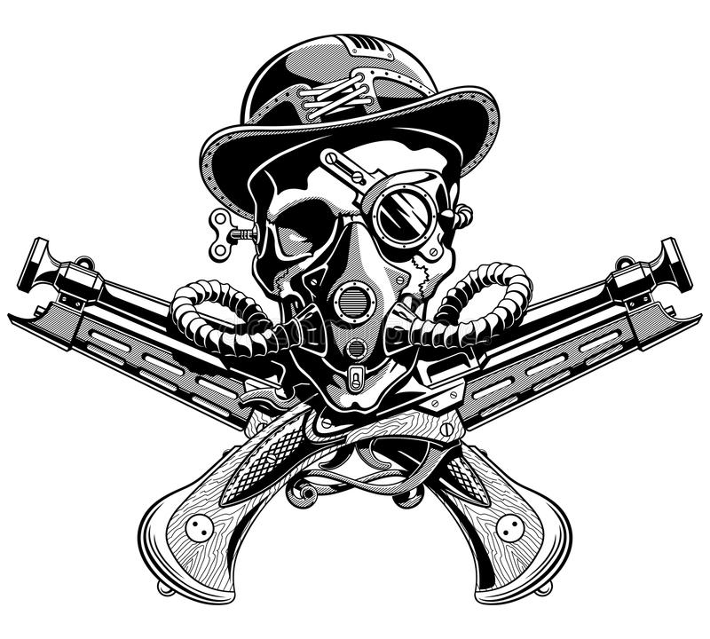 Vetor cruzado chapéu de Jolly Roger Steampunk do pirata das pistolas do crânio ilustração stock