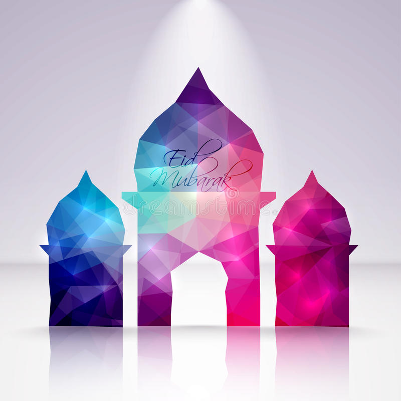 Vetor Crystal Mosque poligonal Tradução: Eid Mubarak - Bles ilustração do vetor