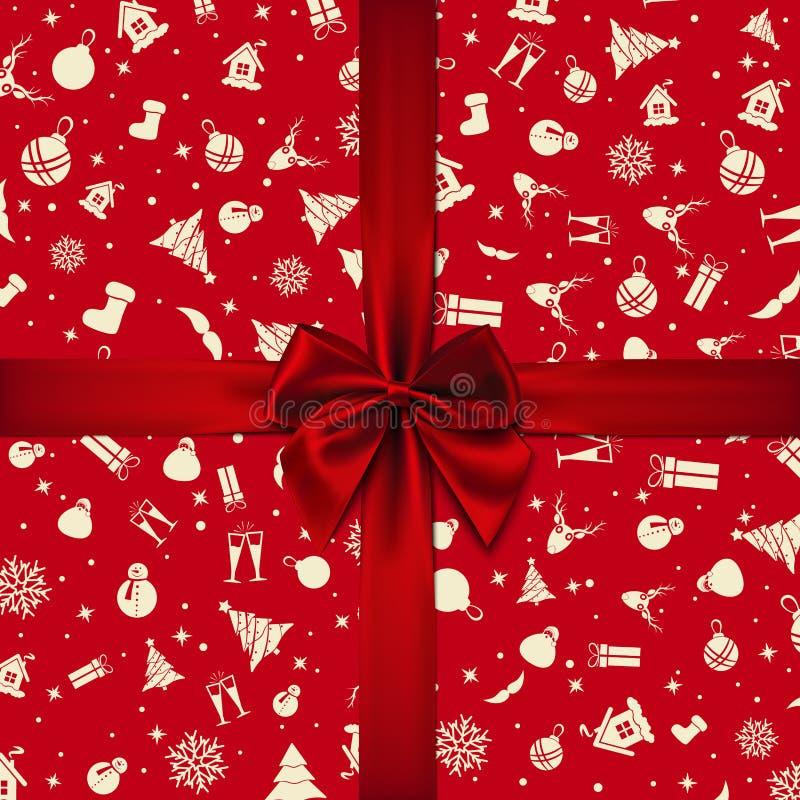 Vetor - curva vermelha sobre o papel de envolvimento vermelho do Natal Cart?o de Natal Cart?o do ano novo feliz fotos de stock