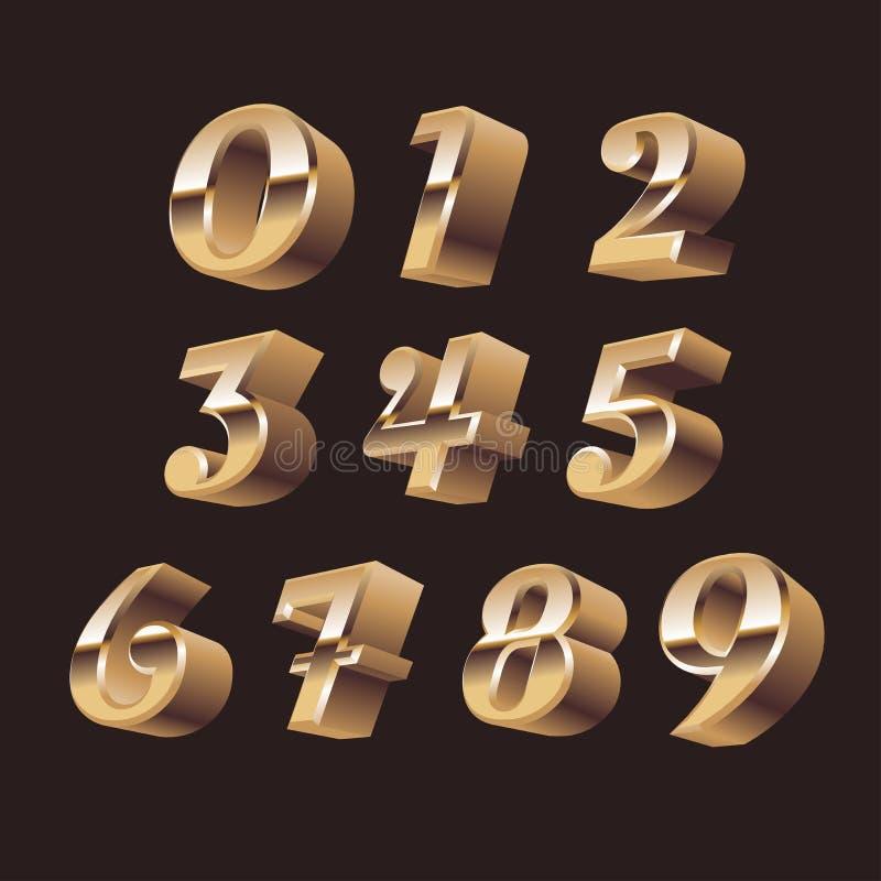 vetor 3d ajustado números ilustração royalty free