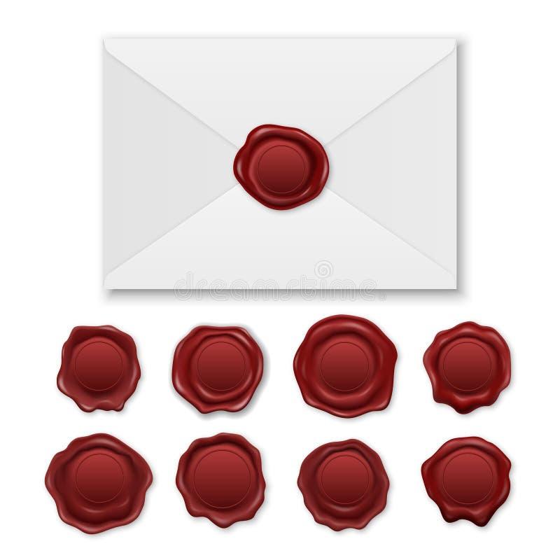 Vetor 3d Envelope Retro Retron. e Vintage Retro Stamp Wx Sal Set Closeup Isolado em Fundo Branco Design ilustração do vetor