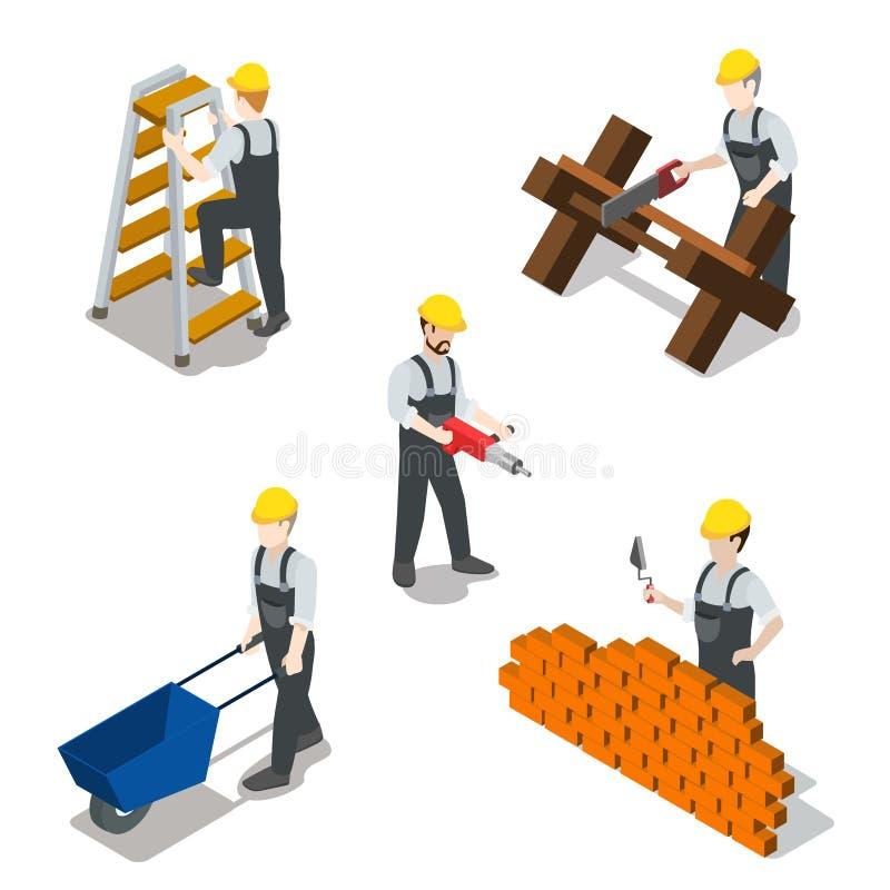 Vetor 3d isométrico liso do ícone do trabalhador da construção do construtor ilustração royalty free