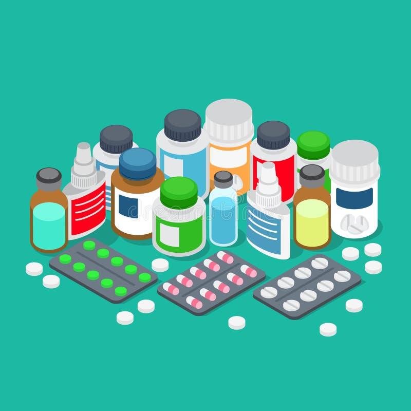 Vetor 3d isométrico liso dos comprimidos da farmácia da farmácia do produto farmacêutico ilustração royalty free