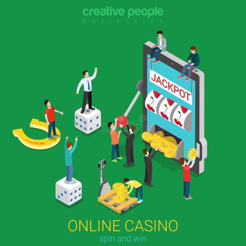 Vetor 3d liso do casino em linha: jackpot de jogo da tabuleta do telefone da sorte ilustração royalty free