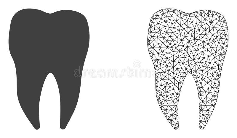 Vetor 2D Mesh Dental Tooth e ícone liso ilustração royalty free