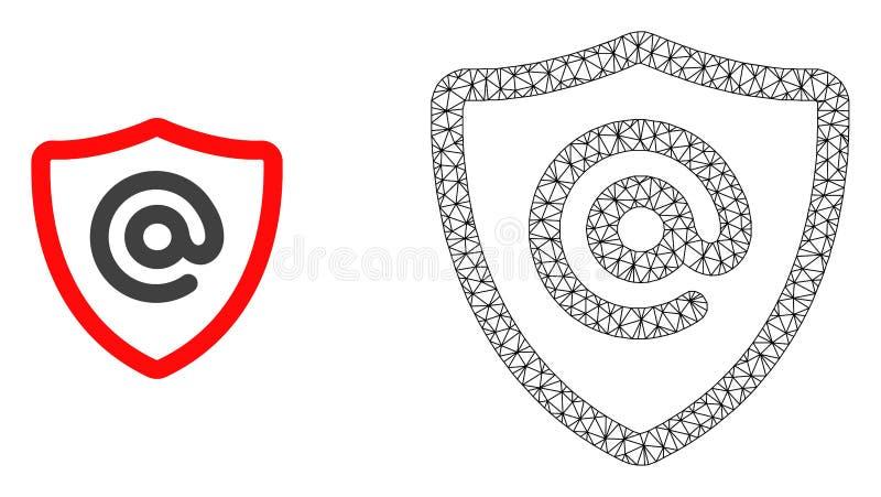 Vetor 2D Mesh Email Address Protection e ícone liso ilustração do vetor