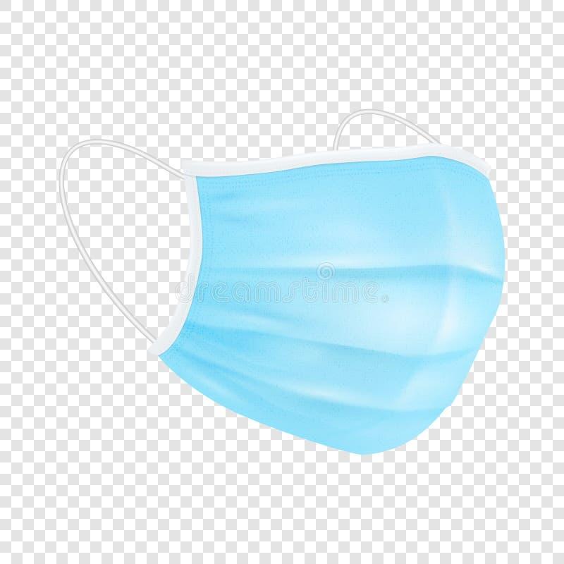 Vetor 3d Respiratório respiratório respiratório descartável em branco Realista Hospital Médico Poluição Protege Encosto da Máscar ilustração stock