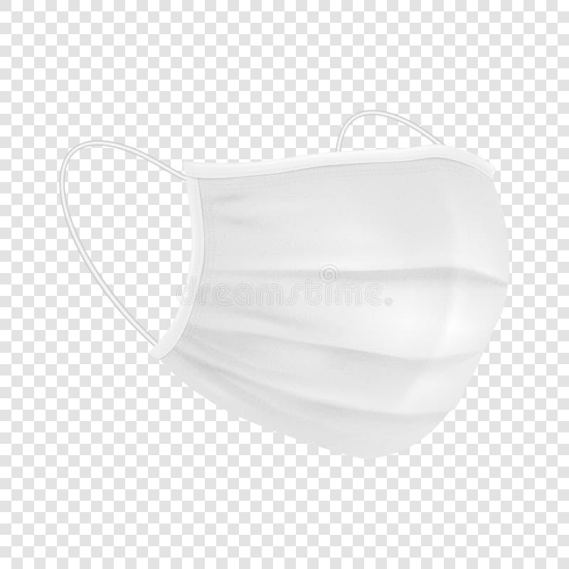 Vetor 3d Respiratório respiratório respiratório descartável em branco Realista Hospital Médico Poluição Protege Encosto da Máscar ilustração royalty free