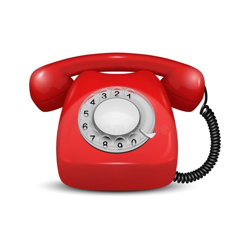 Vetor 3d Retron Real Vintage Retro Old Red Telephone Closeup Isolado em Segundo Plano Branco Modelo de Design, Chamada ilustração royalty free