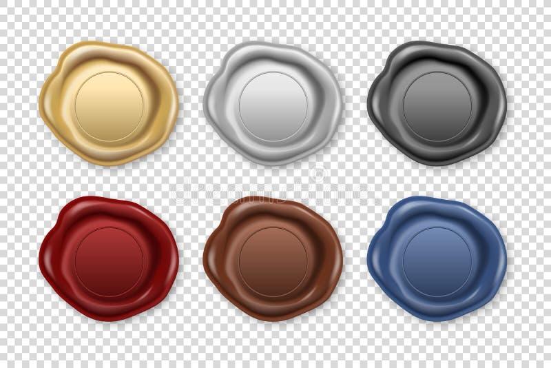 Vetor 3d Retron Retro Stamp Stamp Wax Seal Set Closeup Isolado em Segundo Plano Transparente Modelo de Projeto de ilustração do vetor