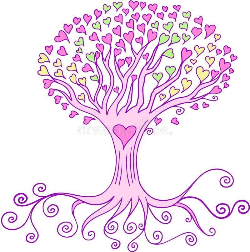 Vetor da árvore do coração do amor ilustração stock
