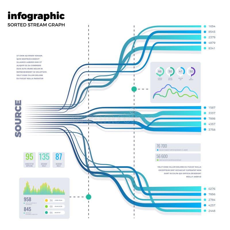 Vetor da árvore do processo do fluxograma infographic ilustração stock