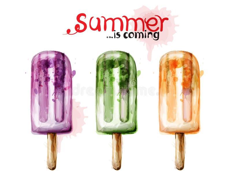 Vetor da aquarela do gelado do verão Sobremesas suculentas coloridas ilustração do vetor