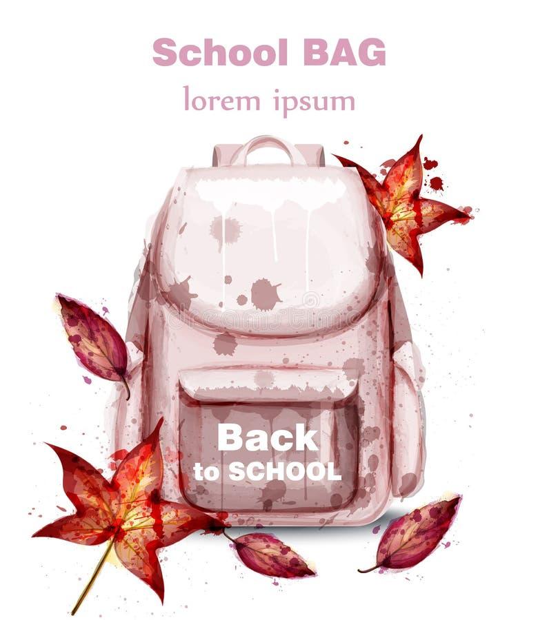 Vetor da aquarela do saco de escola Decorações cor-de-rosa da sacola e das folhas de outono ilustração stock