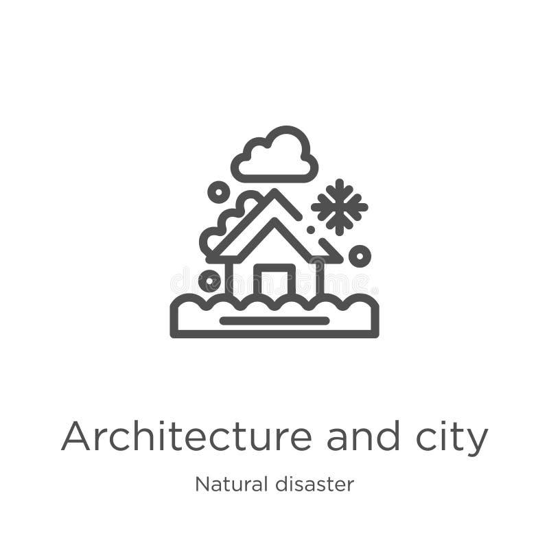 vetor da arquitetura e do ícone da cidade da coleção da catástrofe natural Linha fina arquitetura e vetor do ícone do esboço da c ilustração do vetor