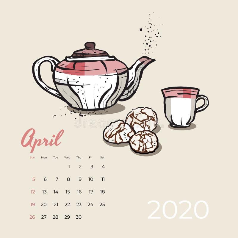 Vetor da arte do alimento e do chá do calendário 2020 de abril Calendário esboçado tea party Página de abril com bule cor-de-rosa ilustração do vetor