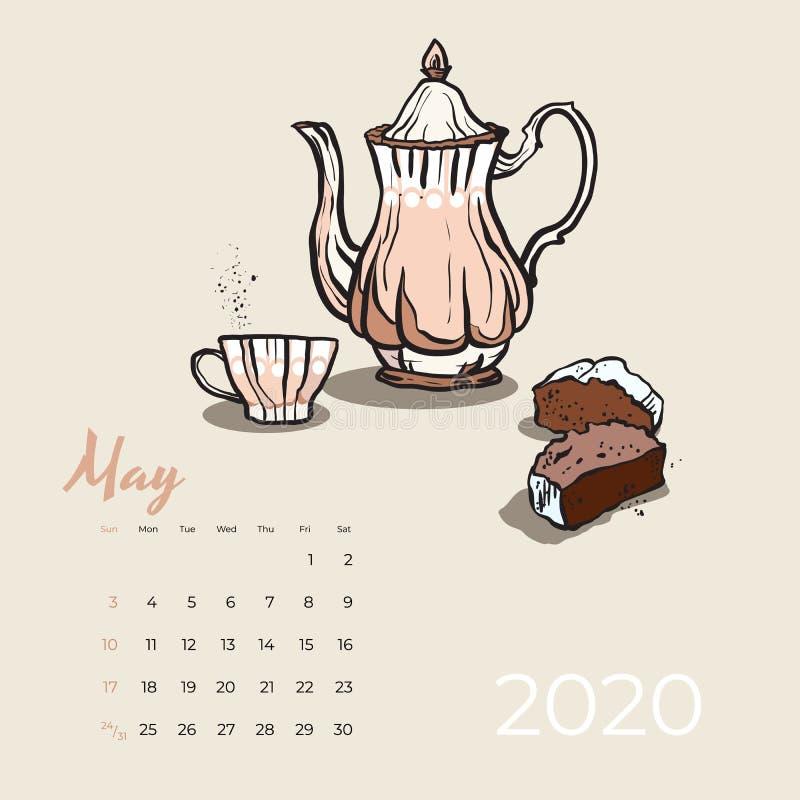 Vetor da arte do alimento e do chá do calendário 2020 de maio Calendário esboçado tea party Página de maio com bule cor-de-rosa,  ilustração royalty free