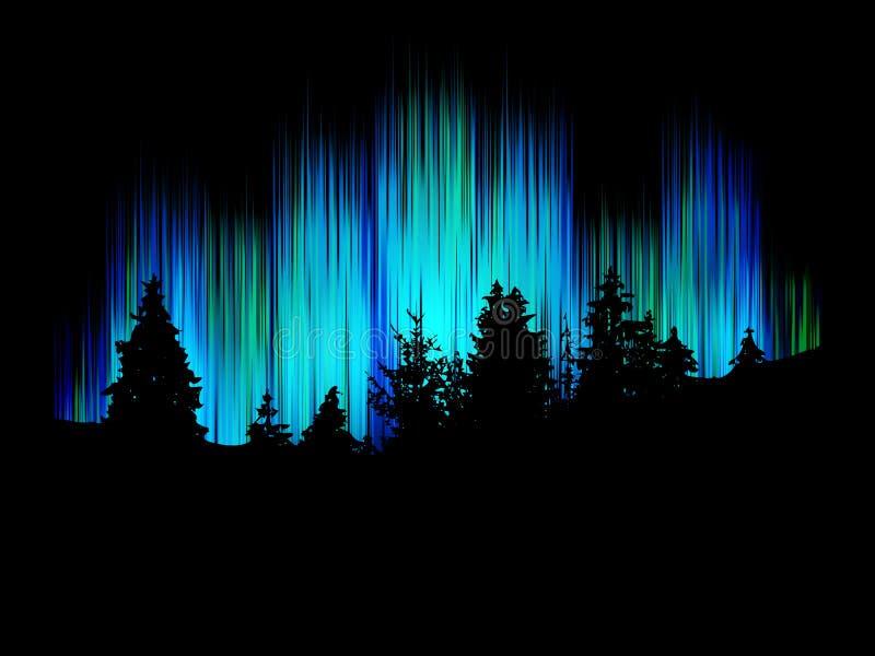 Vetor da aurora boreal Silhueta da floresta contra os dançarinos alegres do fundo Paisagem das ?rvores ilustração stock